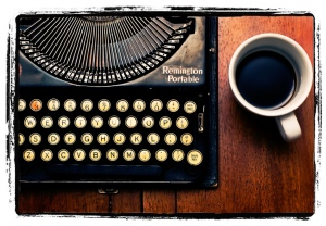 Typewriter and coffee large